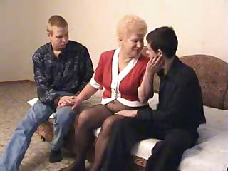 Granny fucking two fellas feeling aide cum-craving today