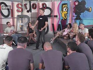 Silvia Dellai camouflaged with cum in a hardcore pornstar orgy