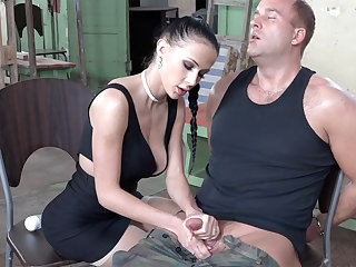 Sexy dour play with dick of military