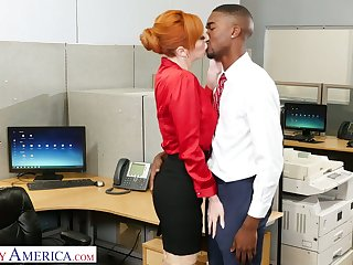 Indecorous red haired office slut Lauren Phillips wanna ride dauntless long BBC