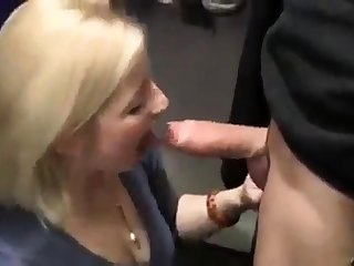 Hot Blonde Slut Blows To A Changing Room