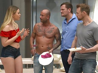 Fat racked cash-drawer Selvaggia works on three fat pricks in the mood for a ridiculous one
