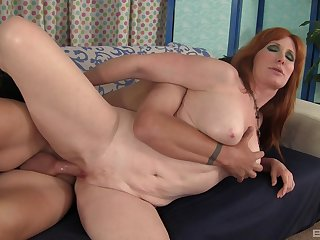 After a blowjob sex-crazed milf Freya Fantasia got her tight pussy fucked
