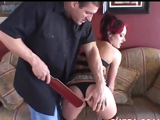 Melissa Lauren gets spanked and receives his dick into her stingy ass