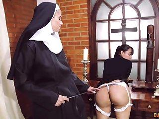 Crazy nun faggot fetish with two staggering column