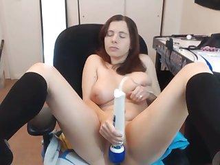 Fabulous webcam bush-league babe uses dildo prevalent pet her wet pussy