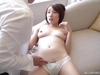 Cute Asian gets fucked at the end of one's tether hard friend's penis while she moans