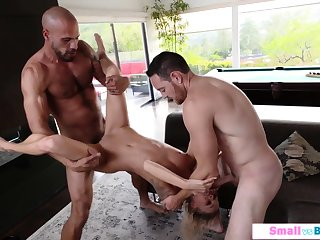 Pocket-sized babe ganged by two big dicks