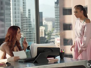 Gia Derza plus Molly Stewart having lesbian intercourse on the office table