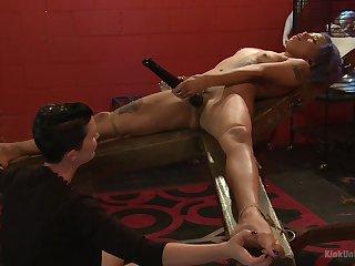 Mistress shows younger slave girl proper oral stimulation