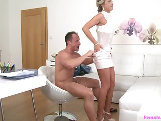 Torrid blonde female agent loves to be fucked by a fat uninspired cock