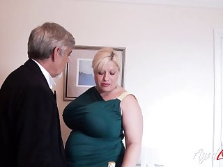English huge breasted and big cougar Gina George is banged mish