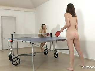 Pretty ping-pong players disrobe after the game for girl-on-girl fun