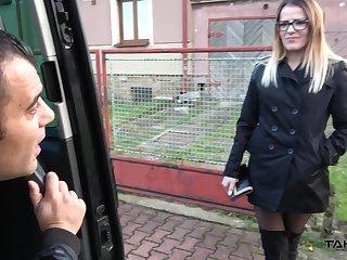 Kinky dude fucks nasty chick in ripped menacing nylons Samantha in burnish apply car
