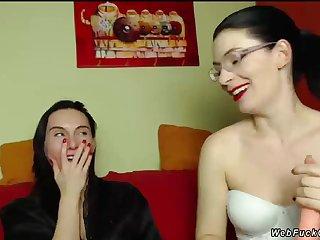 Lesbians hug chiefly private webcam show
