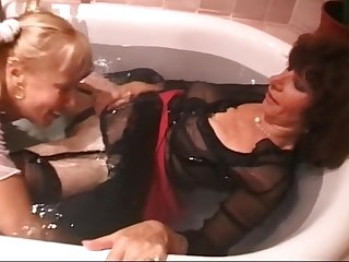 With Belt in the bath scrubbing