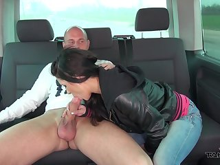 Spoiled picked up Joyce flashes tits in the long run b for a long time riding stranger inside his car