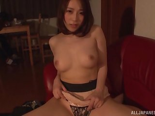 POV video of Japanese wife HAchino Tsubasa giving a BJ and riding