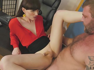 Highly emotional and rather morose leggy shemale Natalie Mars is anal pounded