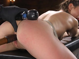 Gagged submissive bondage drab Paige Owens is masturbated really lasting