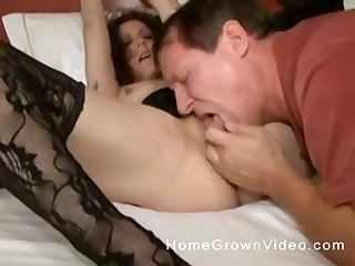 Professional chaperone in stockings fucked by a horny older man