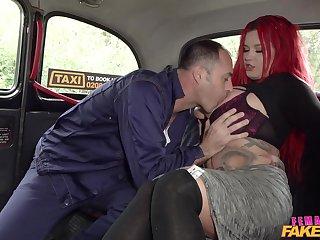 Tattooed sinner Sabien DeMonia gets fucked good apart from her cabbie