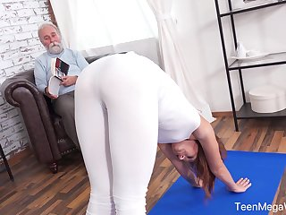An old man with a kinky mind fucks his fit stepdaughter