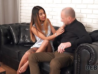 Hot mollycoddle Roxy Lips gives her head and gets fucked hard for debt