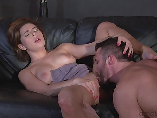 Ally Breelsen sucks a large dick and rides him on the sofa