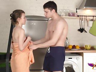 Nelya Bright orgasms in the sky kitchen floor