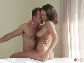 Busty generalized fucked by daddy and jizzed groove on a whore