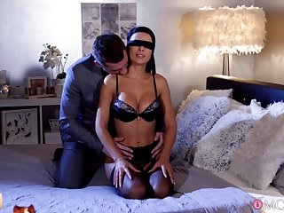 Unambiguous orgasms after the blind folded fit together receives another man's cock
