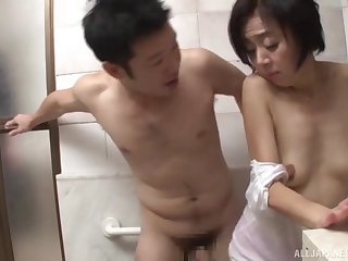 Forsaken fucking in the bathroom with a cock hungry Japanese babe