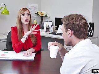 Bossy MILF fro huge titties fucks her numerous assistant convenient work