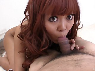 Asian slut gets her pussy fucked by her chubby lover and loves it