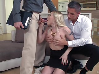 Blondie gets her pink holes enlarged in a rough trilogy tryout