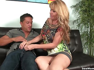 Mature handles man's energied dick in barely satisfactory manners