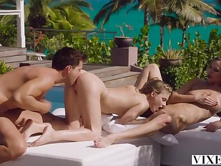 VIXEN FFM Pounding in Paradise - 2 Get-up-and-go Babes be expeditious for 1 D