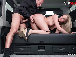 Au pair girl chafes milf client's pussy w hard cock