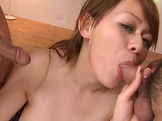 Sexy Little Japanese Trollop Gets Drilled With the addition of Masturbated By Three Dudes